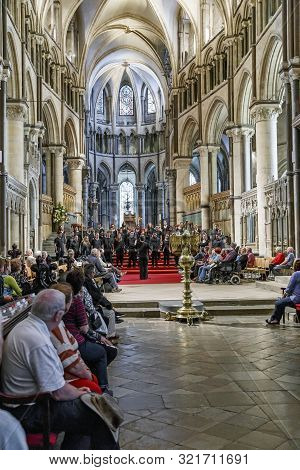 Canterbury, Great Britain - May 15, 2014: This Is A Youth Choir Performance At Canterbury Cathedral.