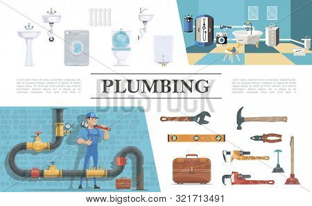 Plumbing Elements Composition With Plumber Sewerage Bathroom Interior Washbasin Toilet Boiler Washin