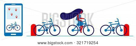 Bike Rental In The City Using A Smartphone. Bike Sharing And Parking At Docking Stations. The Girl R