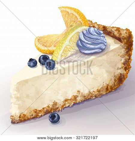 Vector Piece Of Cheesecake With Airy, Tender, Delicate Creamy-curd Cheese. Crisp, Crumble Cake With