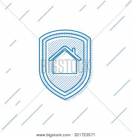Blue line House under protection icon isolated on white background. Home and shield. Protection, safety, security, protect, defense concept. Vector Illustration poster