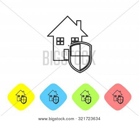 Grey line House under protection icon isolated on white background. Home and shield. Protection, safety, security, protect, defense concept. Set icons in color rhombus buttons. Vector Illustration poster