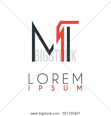 The Logo Between The Letter M And Letter T Or Mt With A Certain Distance And Connected By Orange And
