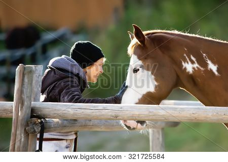 Woman and Paint Quarter Horse