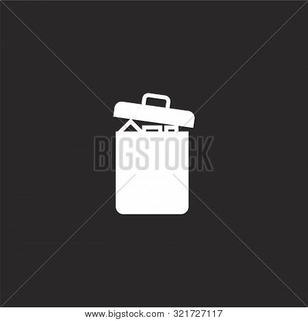 Garbage Icon. Garbage Icon Vector Flat Illustration For Graphic And Web Design Isolated On Black Bac