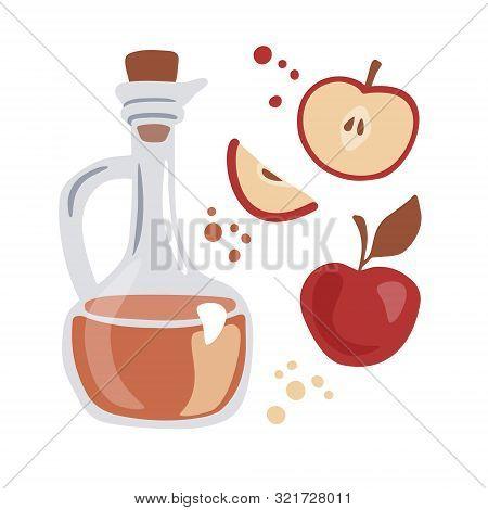 Trendy Vector Illustration Apple Cider Vinegar. Glass Pitcher With The Fermented Vinegar And Fresh F