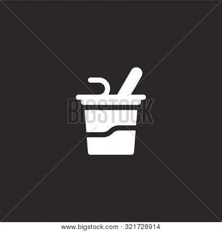 Yogurt Icon. Yogurt Icon Vector Flat Illustration For Graphic And Web Design Isolated On Black Backg