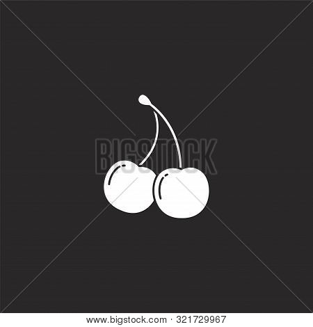 Cherry Icon. Cherry Icon Vector Flat Illustration For Graphic And Web Design Isolated On Black Backg