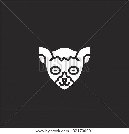 Lemur Icon. Lemur Icon Vector Flat Illustration For Graphic And Web Design Isolated On Black Backgro