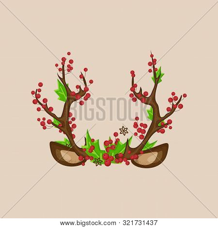 Christmas Photo Prop Booth Mask Deer Horns With Ears, Red Berries, Green Leaves. Deer Horn With Berr