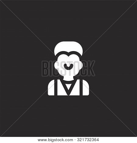 Bartender Icon. Bartender Icon Vector Flat Illustration For Graphic And Web Design Isolated On Black