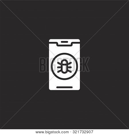 Malware Icon. Malware Icon Vector Flat Illustration For Graphic And Web Design Isolated On Black Bac