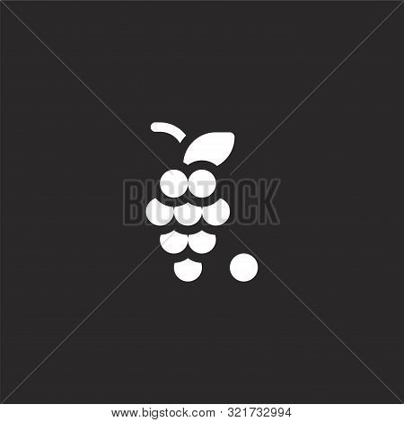 Grapes Icon. Grapes Icon Vector Flat Illustration For Graphic And Web Design Isolated On Black Backg
