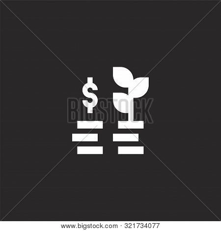 Profit Icon. Profit Icon Vector Flat Illustration For Graphic And Web Design Isolated On Black Backg