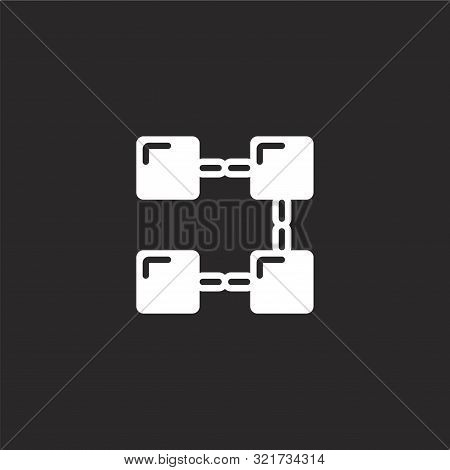Blockchain Icon. Blockchain Icon Vector Flat Illustration For Graphic And Web Design Isolated On Bla