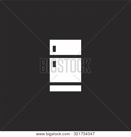 Fridge Icon. Fridge Icon Vector Flat Illustration For Graphic And Web Design Isolated On Black Backg