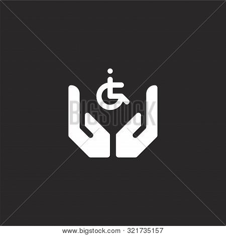 Disabled People Icon. Disabled People Icon Vector Flat Illustration For Graphic And Web Design Isola