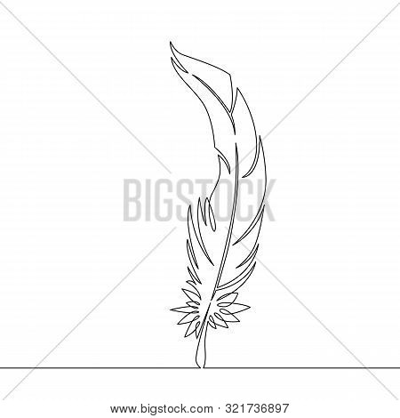 One Continuous Single Drawn Line Art Doodle Feather, Bird, Quill, Plume, Pen, Wing, Fluff . Isolated