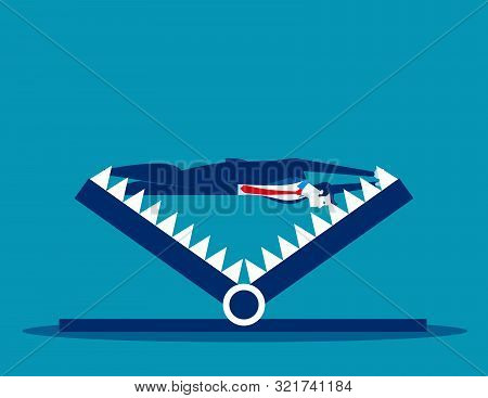 Businessman Over Mount Trap. Concept Business Debt Trap Vector Illustration, Trapped, Problem And Ri