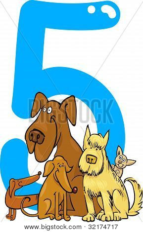 poster of cartoon illustration with number five and dogs