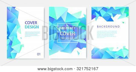 Vector Set Of Triangle Polygonal Abstract Background, Facet Crystal Blue Covers, Flyers, Brochures.