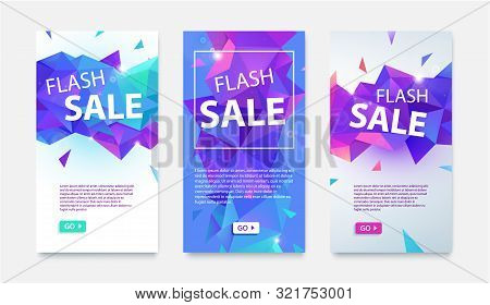 Vector Set Of Geometric Social Media Banners, Flyers For Online Shopping, Flash Sale. Low Poly Facet