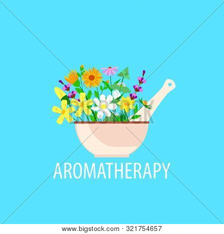Herbal Aromatherapy In A Mortar With Pestle, Chamomile And Lavender And Calendula