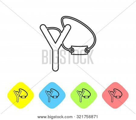Grey Line Slingshot Icon Isolated On White Background. Set Icons In Color Rhombus Buttons. Vector Il