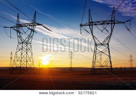 Electricity pylons and sunset