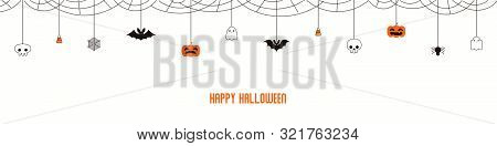 Happy Halloween Garland, Bunting With Pumpkins, Bats, Ghosts, Spider Webs, Skulls, Corn Candy, On Wh