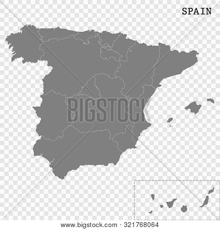 High Quality Map Of Spain With Borders Of The Regions