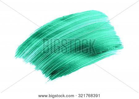 Beautiful Textured Green Stroke Isolated On White Background.