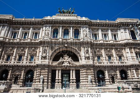 Rome, Italy - April, 2018: The Palace Of Justice The Seat Of The Supreme Court Of Cassation And The
