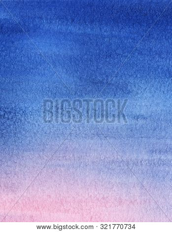 Abstract Watercolor Background. Sunset Sky With Gentle Gradient From Bright Blue To Mauve And Pink.