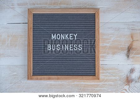 Grey Felt Board With English Text Monkey Business. English Idiom About Business