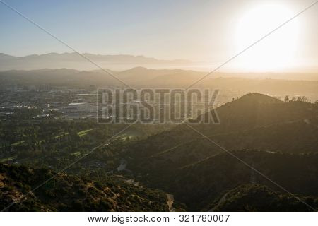 Sunrise view of Glendale and the San Fernando Valley in Los Angeles, California.  Shot from Griffith Park looking east towards the San Gabriel Mountains.