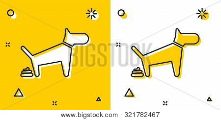 Black Dog Pooping Icon Isolated On Yellow And White Background. Dog Goes To The Toilet. Dog Defecate