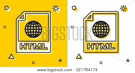 Black Html File Document. Download Html Button Icon Isolated On Yellow And White Background. Html Fi