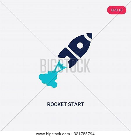 two colored rocket start vector icon from astronomy.