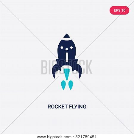 two colored rocket flying vector icon from astronomy.