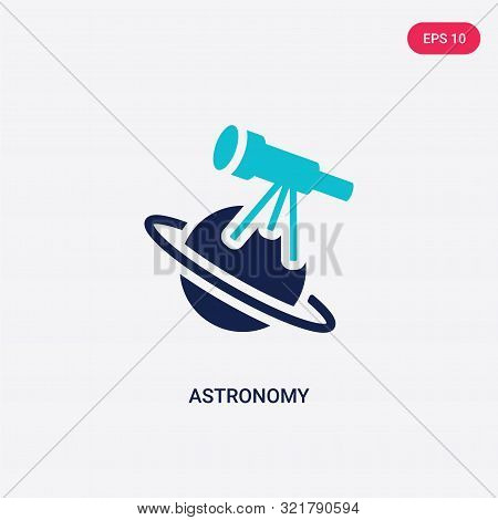 Two Colored Astronomy Vector Icon From . 2 Color Astronomy Concept. Blue Astronomy Sign. Astronomy I
