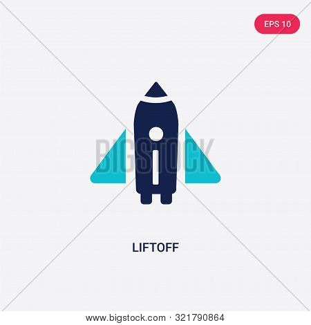 two colored liftoff vector icon from astronomy.