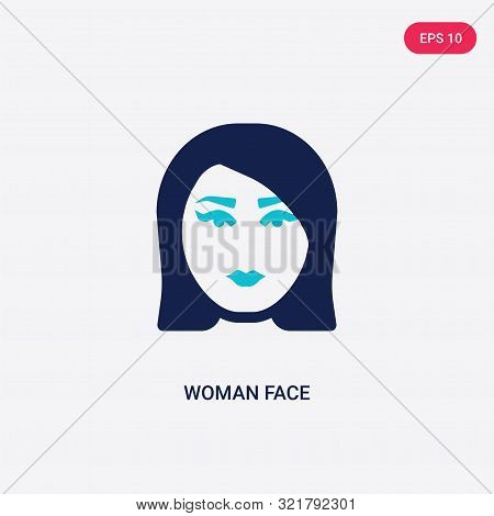 Two Colored Woman Face Vector Icon From Beauty. 2 Color Woman Face Concept. Blue Woman Face Sign. Wo