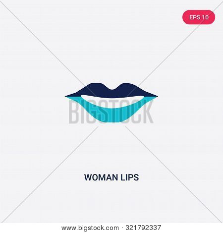 Two Colored Woman Lips Vector Icon From Beauty. 2 Color Woman Lips Concept. Blue Woman Lips Sign. Wo