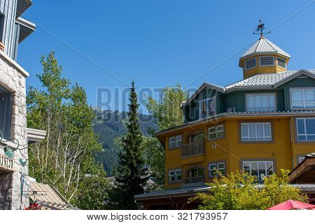 Whistler Mountain In British Columbia, Canada Looking To The Summer Ski Lifts And Gondola At Blackco