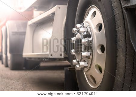 Truck Driving On Road. Truck Wheel Closeup, Transportation, Motion Blur