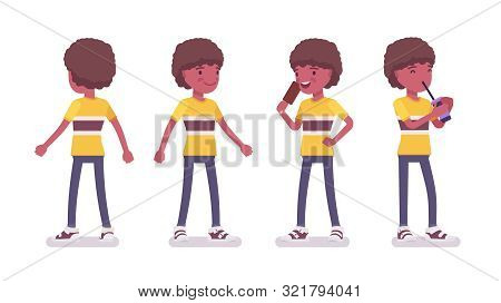 Boy Child 7 To 9 Years Old, Black Active Male School Age Kid Standing, Drinking Soda Water, Enjoy Ea