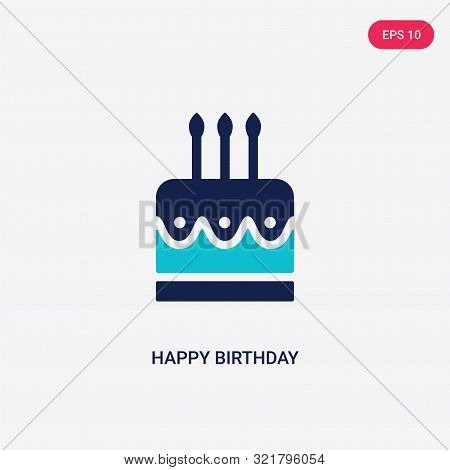 Two Colored Happy Birthday Vector Icon From Birthday Party And Wedding. 2 Color Happy Birthday Conce