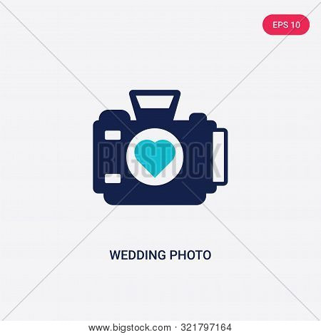 Two Colored Wedding Photo Vector Icon From Birthday Party And Wedding. 2 Color Wedding Photo Concept