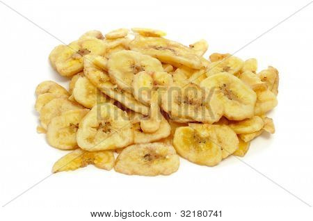 a pile of banana chips on a white background poster
